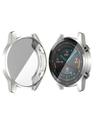 Eύκαμπτη θήκη προστασίας σιλικόνης με ενσωματωμένη προστασία οθόνης για το Huawei Watch GT 2 46mm  - Silver
