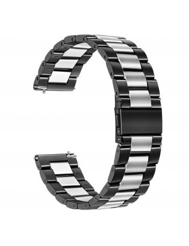 Mεταλλικό λουράκι stainless steel dual color για το Amazfit GTR 47mm- Black/ Silver