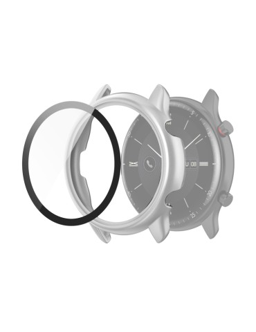 Σκληρή θήκη προστασίας με tempered glass για το Amazfit GTR 2e(Silver)