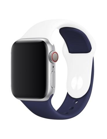Λουράκι σιλικόνης για το Apple Watch 42/44mm (White+Dark Blue)