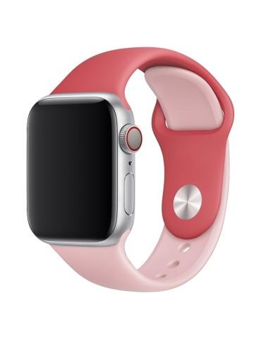 Λουράκι σιλικόνης για το Apple Watch 42/44mm (Rose Red+Light Pink)