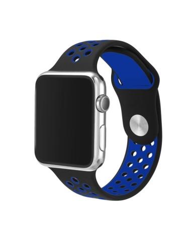 Λουράκι σιλικόνης με τρύπες για το Apple Watch 42/44mm (Black Blue)