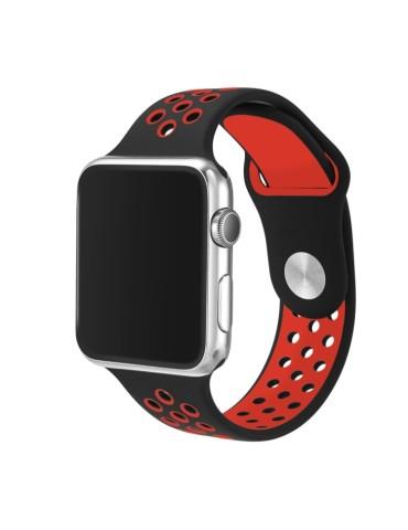 Λουράκι σιλικόνης με τρύπες για το Apple Watch 42/44mm (Black Red)