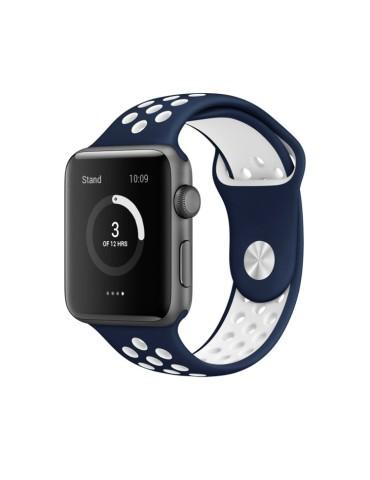 Λουράκι σιλικόνης με τρύπες για το Apple Watch 42/44mm(Dark Blue/ white)