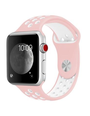 Λουράκι σιλικόνης με τρύπες για το Apple Watch 42/44mm (Pink White)