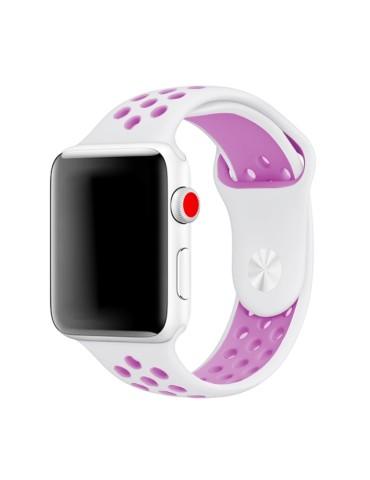 Λουράκι σιλικόνης με τρύπες για το Apple Watch 42/44mm (White Purple)
