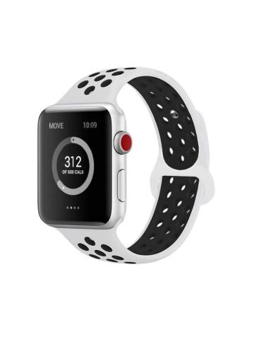 Λουράκι σιλικόνης με τρύπες για το Apple Watch 42/44mm (White Black)
