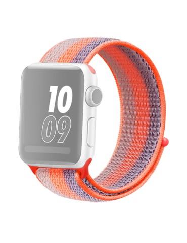Υφασμάτινο λουράκι για το για το Apple Watch 42/44mm (Striped Rrange Red)