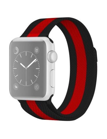 Μεταλλικό λουράκι με μαγνητικό κλείσιμο για το  Apple Watch 42/44mm (Black Red)