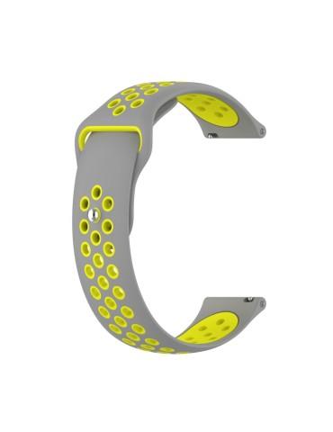 Λουράκι σιλικόνης με τρύπες για το Amazfit GTR 47mm - (Grey Yellow)