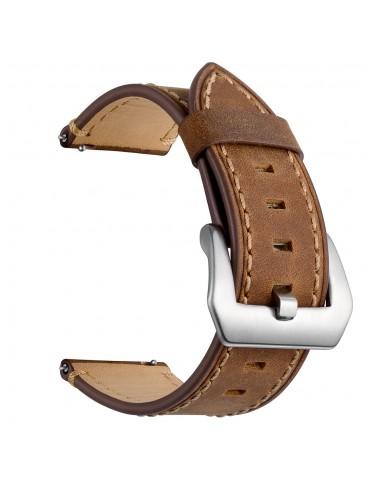 Δερμάτινο λουράκι με καφέ διακοσμητικές ραφές για το Huawei Watch GT/GT 2 (46mm)/ GT 2e /GT Active/Honor Magic/Watch 2 Classic -Brown