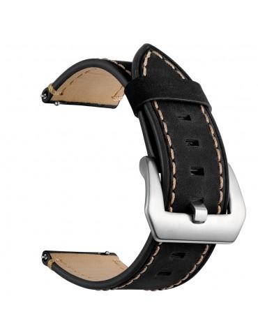 Δερμάτινο λουράκι με καφέ διακοσμητικές ραφές για το Huawei Watch GT/GT 2 (46mm)/ GT 2e /GT Active/Honor Magic/Watch 2 Classic -Black