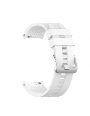 Λουράκι σιλικόνης με hexagon texture για το Huawei Watch GT/GT 2 (46mm)/ GT 2e /GT Active/Honor Magic/Watch 2 Classic - White